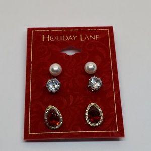 Holiday Lane Pearl Crystal & Stone Stud Earrings